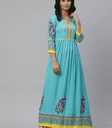 Pinksky Blue woven viscose ethnic-kurtis