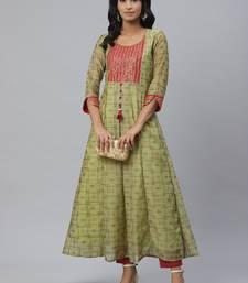 Pinksky Green woven chanderi ethnic-kurtis
