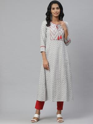 Pinksky White woven cotton ethnic-kurtis