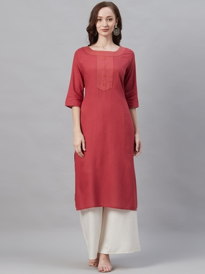 Red plain liva ethnic-kurtis