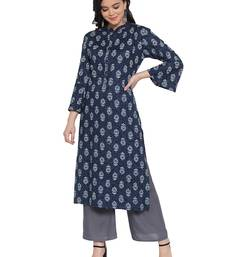 Indigo printed rayon kurtas-and-kurtis