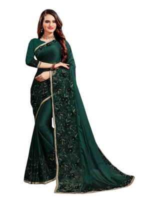 Teal plain silk blend saree with blouse