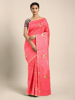 Peach embroidered chanderi saree with blouse