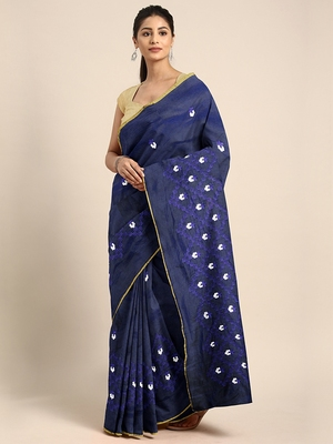 Navy blue embroidered chanderi saree with blouse