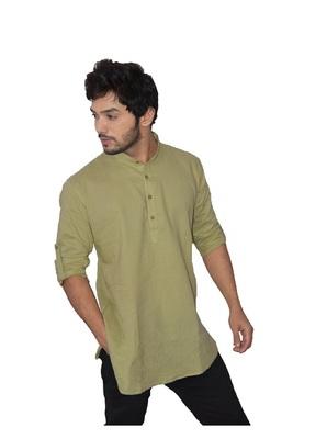 Green plain khadi men-kurtas