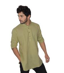 Green plain khadi men-kurtas