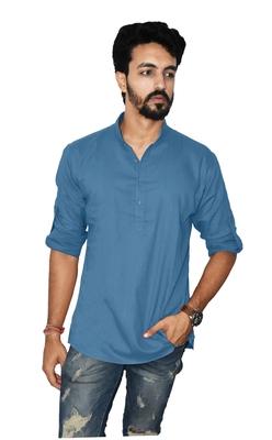 Blue plain khadi men-kurtas