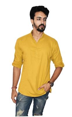 Yellow plain khadi men-kurtas