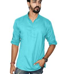 Blue plain khadi men-kurtas