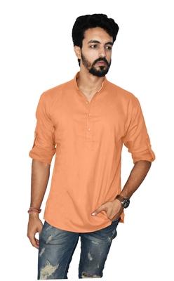 Orange plain khadi men-kurtas