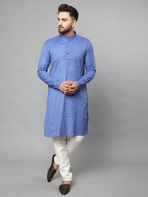 Blue plain polyester kurta-sets