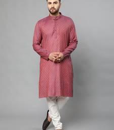Red plain polyester kurta-sets