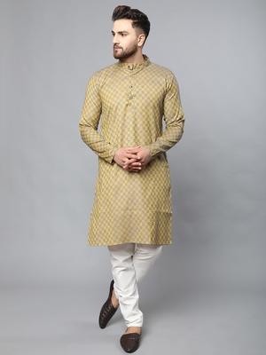 Mustard plain polyester kurta-sets