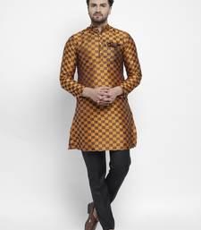 Orange plain polyester kurta-sets