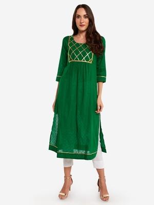 Green plain art silk long-kurtis