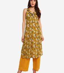 Mustard printed art silk long-kurtis