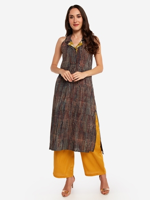 Multicolor plain art silk long-kurtis
