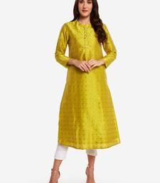 Lime woven art silk long-kurtis