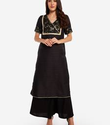 Black plain art silk long-kurtis