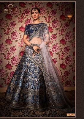 Navy-blue thread embroidery silk unstitched lehenga