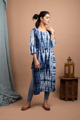 Blue Tie Dye Printed Cotton Casual Kurta