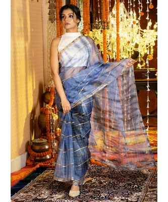 Blue On Blue  Tie Dye Saree With Gota Stripes And Border Organza_sarees