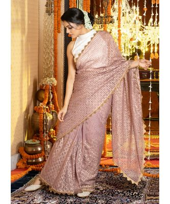Old Rose Stripe Organza Saree With Golden Print And Border Organza_sarees