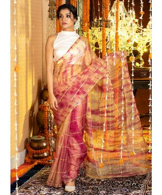 Magenta And Yellow Tie Dye Saree With Gota Stripes And Border Organza_sarees