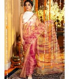 Magenta And Yellow Tie Dye Saree With Gota Stripes And Border Organza_sarees