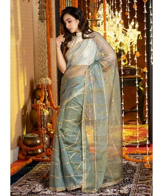 Blue On Teal  Tie Dye Saree With Gota Stripes And Border Organza_sarees