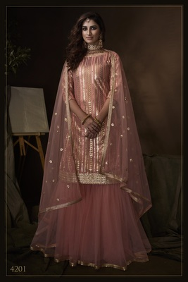 Pink sequins embroidered net sharara suit