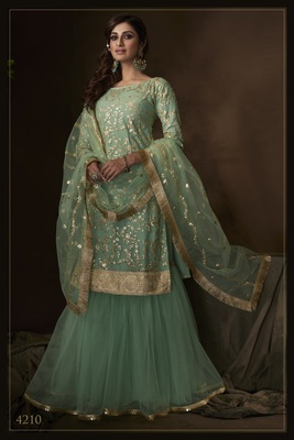 Green sequins embroidered net sharara suit