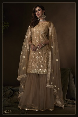 Beige sequins embroidered net sharara suit
