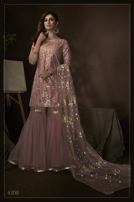 Purple sequins embroidered net sharara suit