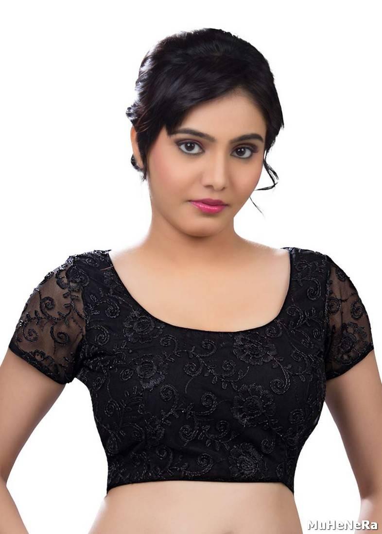 3bb3f214f36516 black net embroidered stitched readymade-blouse - muhenera s - 468107