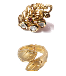 gold plated adjustable kundan ring with antique finish snake style kada available in combo deals.