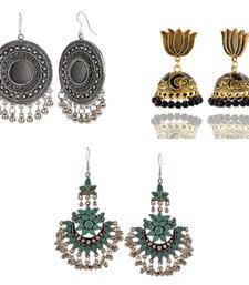 oxidized chandbali/gold plated black jhumki/green ghungroo earrings combo deals