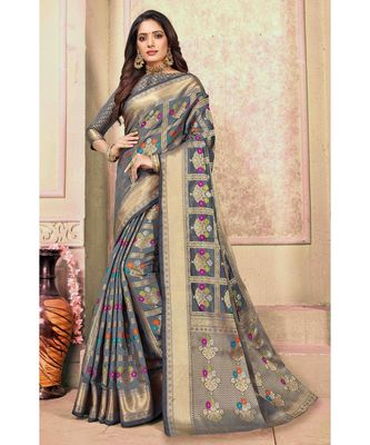 Sangam Prints Grey Cotton Handloom Woven Work Traditional Saree