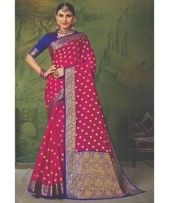 Sangam Prints Magenta Handloom Silk Woven Work Traditional Saree