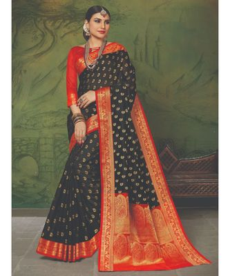 Sangam Prints Black Handloom Silk Woven Work Traditional Saree
