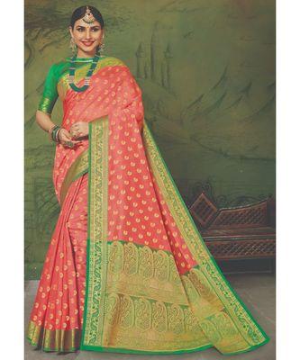 Sangam Prints Peach Handloom Silk Woven Work Traditional Saree