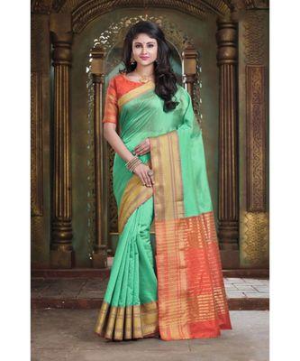 Sangam Prints Light Green Cotton Handloom Woven Work Traditional Saree