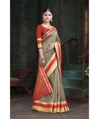 Sangam Prints Grey Cotton Handloom Woven Work Traditional Saree