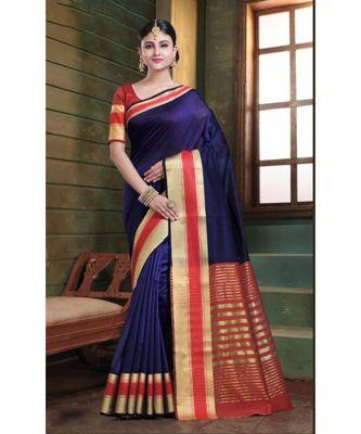 Sangam Prints Violet Cotton Handloom Woven Work Traditional Saree