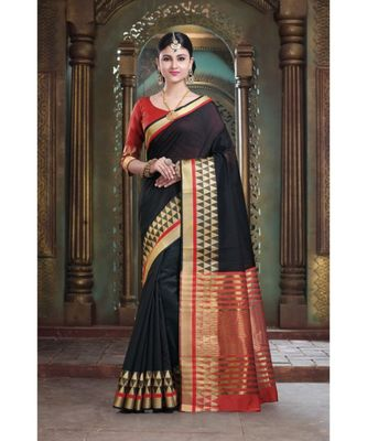 Sangam Prints Black Cotton Handloom Woven Work Traditional Saree