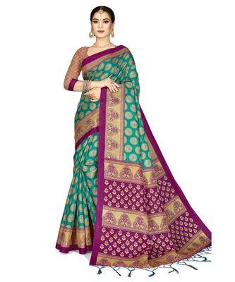 Sangam Prints Turquoise Art Silk Printed Traditional Saree