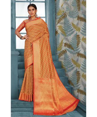 Sangam Prints Beige Handloom Silk Woven Work Traditional Saree