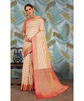 Sangam Prints Cream Handloom Silk Woven Work Traditional Saree