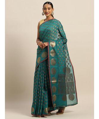Sangam Prints Rama Green Handloom Silk Zari Work Traditional Saree