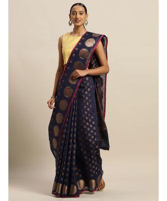 Sangam Prints Navy Blue Handloom Silk Zari Work Traditional Saree